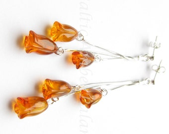 Baltic Amber Dangle Tulip Earrings