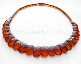 Baltic Amber Dark Cognac Color Faceted Choker