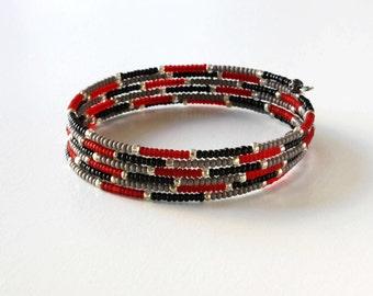 CLEARANCE, Red Bead Bracelet, Grey Bead Bracelet, Black Bead Bracelet, Wire Wrap Bracelet, Seed Bead Bracelet, Memory Wire Bracelet