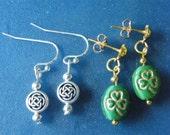 OOAK! Small, St. Patrick's Day Charm Earrings, in Silver or Gold! Celtic Knots, Shamrocks, Stud Piercings, Fish Hooks, Lucky, Irish Earrings