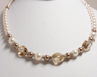Golden Shadow Swarovski Crystal with Creamrose & Bronze Swarovski Pearl Necklace - Handmade Classic Swarovski Necklace