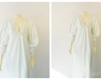 Vintage Nightgown Christian Dior Ice Blue Aqua Jacquard Pattern Satin & Lace Gown Union made in USA Size small to medium