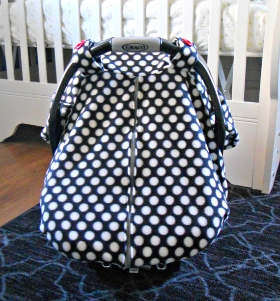fleece baby car seat carrier canopy cover black and white. Black Bedroom Furniture Sets. Home Design Ideas