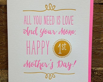 First Mother's Day card - Mother's Day Card for new Mom - Letterpress Mother's Day card - 1st Mother's Day card