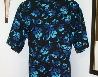 CAMP Clerical shirt turquoise hibiscus on black. All Cotton. Size of choice. Made to order. Tab or fullband collar ready. Untucked style