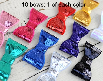 Large Sequin Bows - 5 Inch Sequin Bows - Set of 10 Bows - 1 of Each Color - Giant 5 Inch Sequin Bows For Headbands - Extra Large Sequin Bows