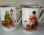 Vintage Norman Rockwell Mugs The Cobbler Dollhouse for Six 1982