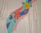 Vintage Koret Knit Blouse Top White with Pastel Floral Applique Koret Francisca