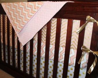 Glitz White Gold Dot Straight Crib Skirt