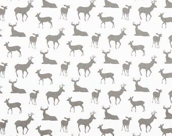 Nursing Pillow Cover - White Gray Deer and Minky Boppy Cover - Woodland, Gray, Deer, Buck, Stag,