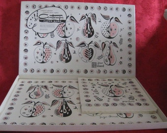 Vintage RARE George Briard Placemat and Napkin Set in Box