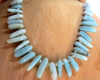 Amazonite Spike and Crystal Necklace - Handmade Jewelry