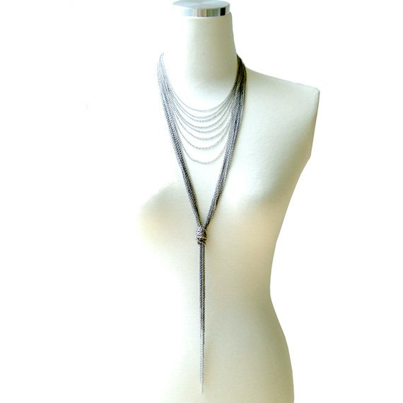 Multi Strand Oxidized Silver Chain Long Necklace