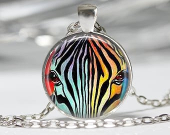 Zebra Necklace Zebra Jewelry Rainbow Jewelry