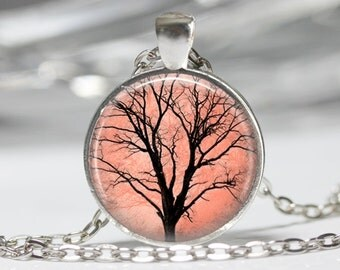 Tree of Life Necklace Pink Tree Jewerly Wearable Art