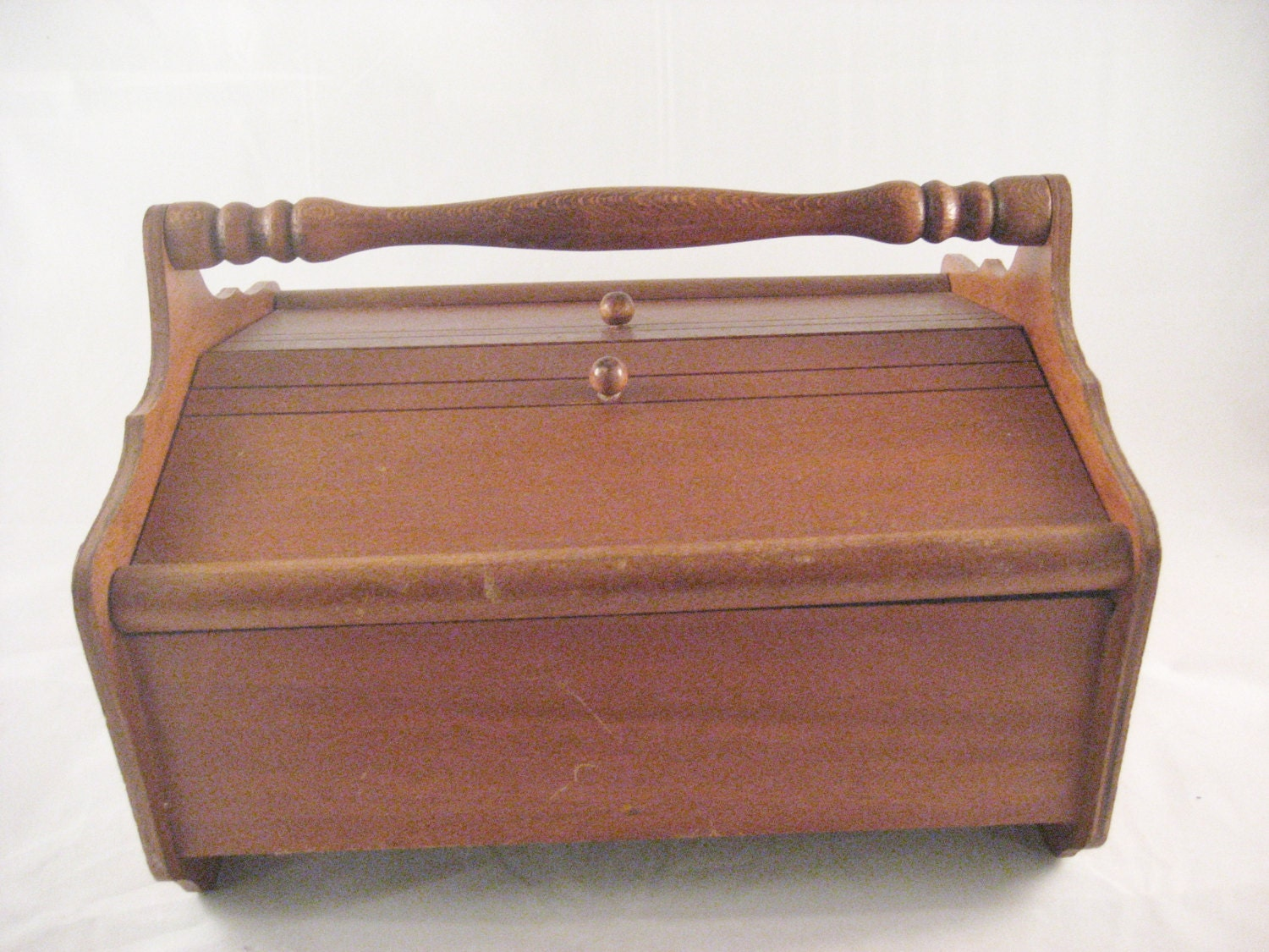 Vintage Wood Sewing Storage Box Yarn Spool Tray