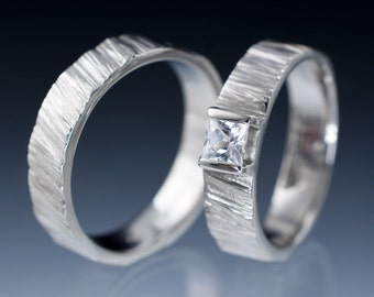 Saw Cut Textured Wedding Ring Set with Princess Cut Sapphire, Wedding Bands in Sterling Silver , White Gold or Palladium