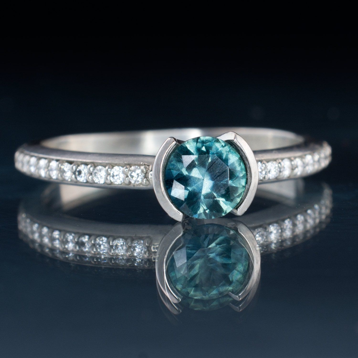 Teal Montana Sapphire Engagement Ring narrow by NodeformWeddings