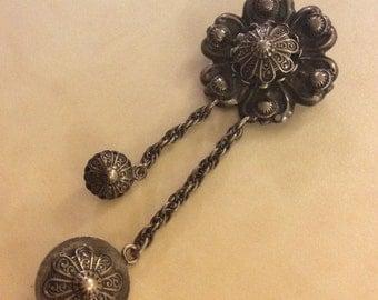 Vintage Art Deco *Jeray Sterling* signed Ornate Design Pin/Broach