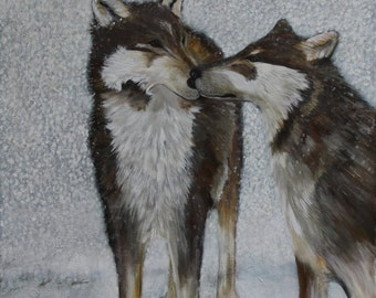 Painting, acrylic, original, wolf, snow, large size 24x30, blues, greys, warm browns, whites