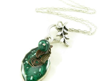 Orgone Energy Leaf Charm Necklace - Orgone Energy Jewelry - Malachite Gemstone Necklace - Quartz Crystal - Petite Pendant - Artisan Jewelry
