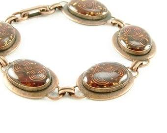 Orgone Energy Oval Link Bracelet in Copper with Orange Carnelian - Artisan Jewelry - Orgone Energy Jewelry