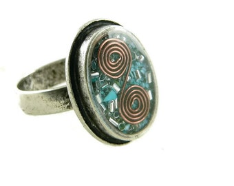 Orgone Energy Ring with Turquoise - Framed Oval Cocktail Ring - Adjustable Ring - Orgone Energy Jewelry - Artisan Jewelry