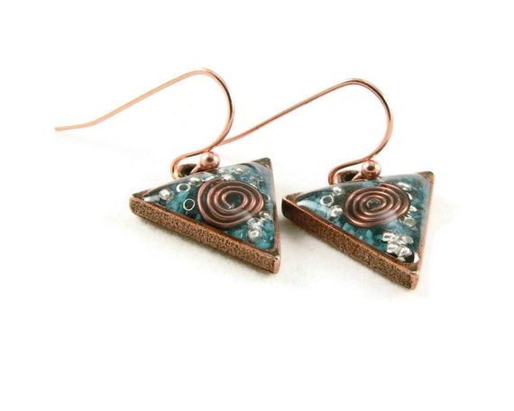 Orgone Energy Dangle Earrings - Small Triangle Drops in Antique Copper with Turquoise - Orgone Energy Jewelry - Artisan Jewelry