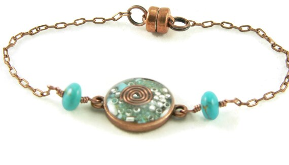 Orgone Energy Petite Stacking Bracelet in Antique Copper Circle with Turquoise Gemstone - Delicate Bracelet - Orgone Energy Jewelry