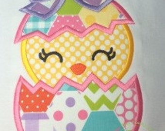Bow Chick in Egg Machine Embroidery Applique Design