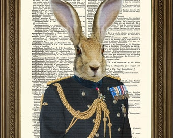 "HARE SOLDIER GENERAL: Art Print of Army Rabbit in Ceremonial Uniform Original Dictionary Page Antique Wall Hanging (8 x 10"")"
