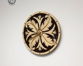 Acanthus Leaf wall clock with inlaid holly and wenge.  Free personalization on back.