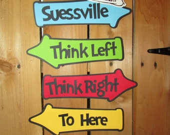 Story book inspired whimsical directional signs - party sign - Suess themed sign