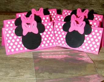 Minnie Mouse Birthday Treat Topper Set of 12 Goodie Bag topper Pink Polka dot minnie mouse