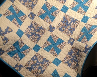 """1930's Reproduction Fabrics Are Blue and Bright In This Pinwheel Design 32"""" X 32"""" Quilt For Baby Boys"""