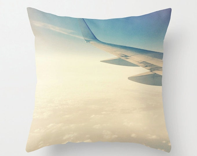 Neutral Sofa Pillow, Cloud Accent Pillow, Aeronautic Detail Throw Pillow Cover, Airplane Wing Cushion 18x18 22x22 Decorative Pillow Cushion