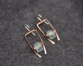 Hand sculpted, copper and recycled glass earrings with sterling ear wires - READY TO SHIP