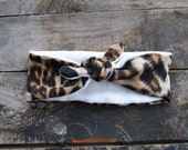 Turban Headband Women's Leopard Knit Jersey Dolly Tie Front Hair Accessory Fleece Lined Ear Warmer for Women and Girls Holiday Sale