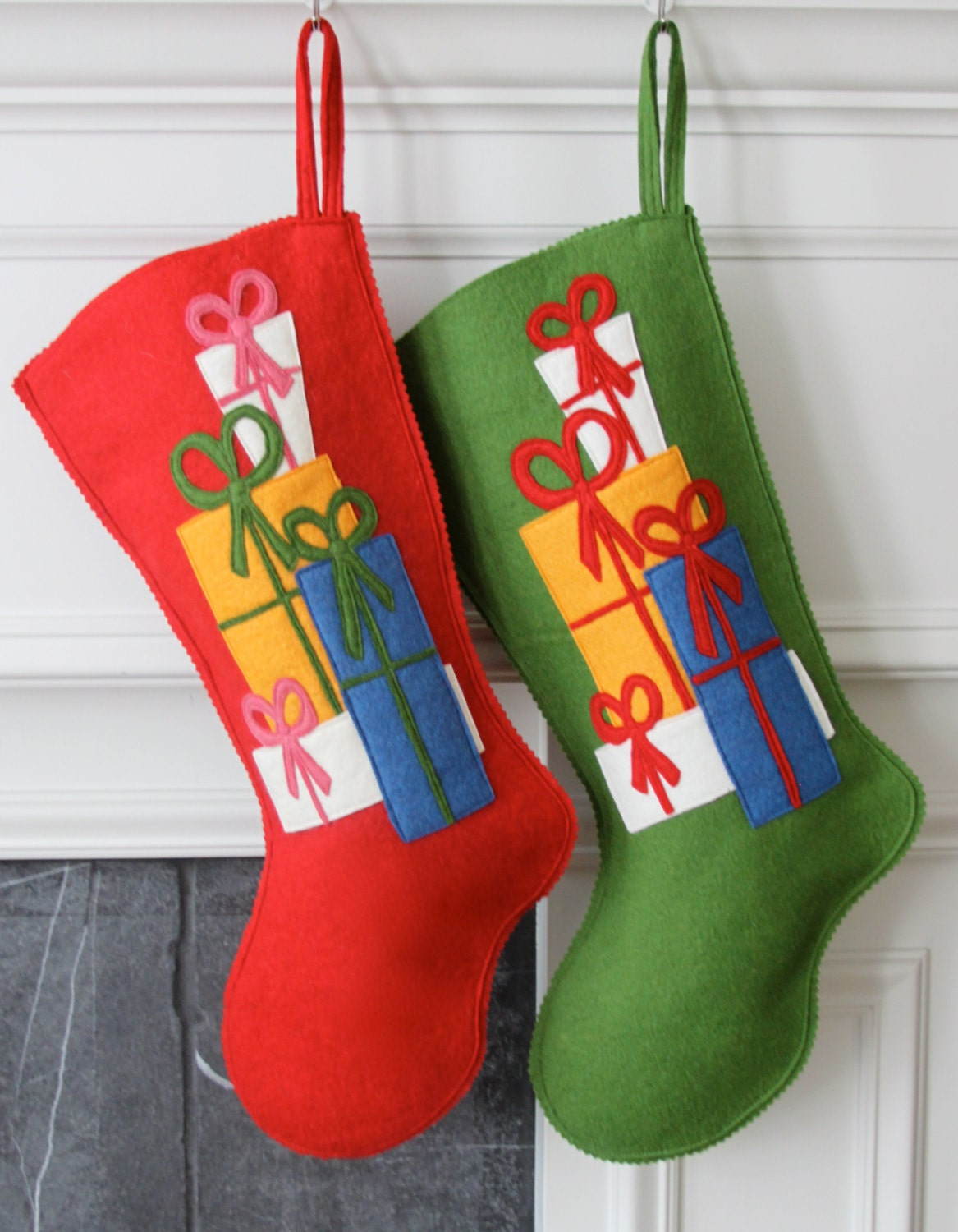 handmade wool felt christmas stocking celebrate with gifts. Black Bedroom Furniture Sets. Home Design Ideas