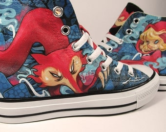The Red Riding Hood, custom shoes, converse, Annatar original design
