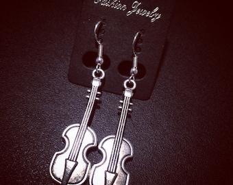Upright Bass Earrings Tibetan Silver with 925 Sterling Silver Hooks