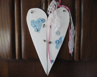 Wood Heart White and Aqua Wire Hanger Valentines Day Home Decor Wall Hanging Ornament