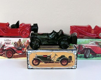 Vintage Aftershave AVON Vintage Cars Mens Collectibles Graphic boxes Stutz Bearcat 1936 MG Straight 8 1970s Glass