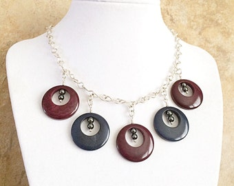 Tagua Nut Necklace, Sterling Silver Tagua, Burgundy Jewelry, Tagua Jewelry
