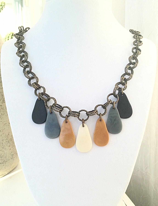 tagua nut jewelry tagua teardrop pendant multi by