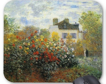 Monet Rose Garden Mousepad Mouse Pad monets garden in argenteuil