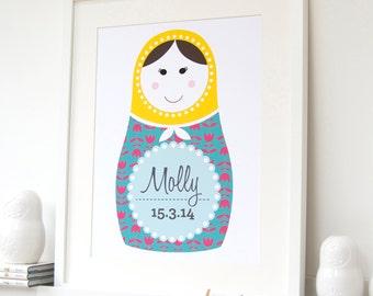Personalised Children's Russian Doll Nursery Print