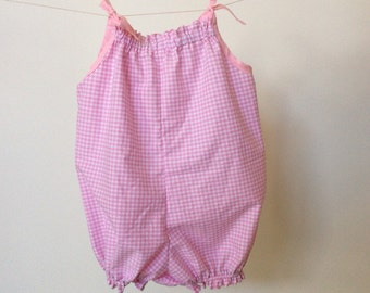 Pink and white gingham toddler romper, cotton bubble suit, size 2 girls sunsuit ready to ship, 00 - 12 months made to order, summer playsuit