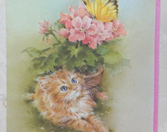 Vintage Kitty and Butterfly Get Well Greeting Card