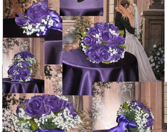 Custom Regency Purple Rose w Sunflowers and Baby's Breath Bridal Bouquet Set